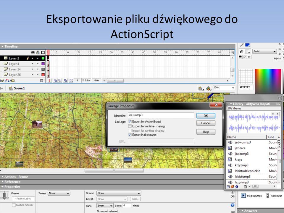 Eksportowanie pliku dźwiękowego do ActionScript