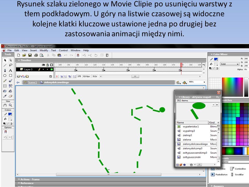 Rysunek szlaku zielonego w Movie Clipie po usunięciu warstwy z tłem podkładowym. U góry na listwie czasowej są widoczne kolejne klatki kluczowe ustawi