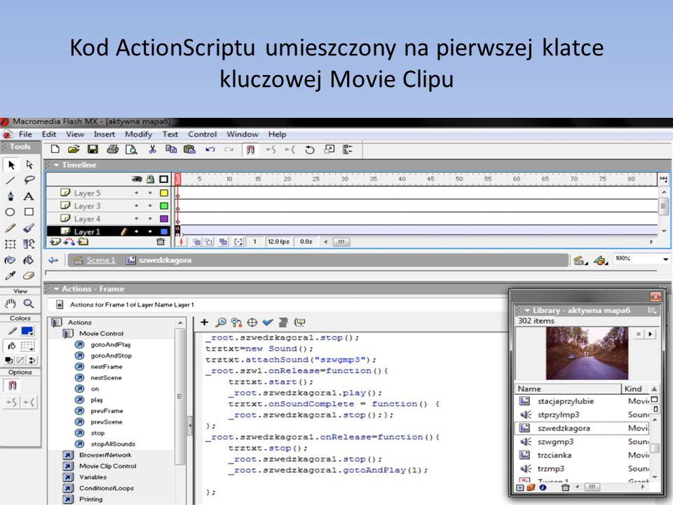 Kod ActionScriptu umieszczony na pierwszej klatce kluczowej Movie Clipu