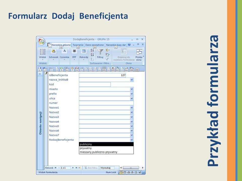 Formularz Dodaj Beneficjenta Przykład formularza