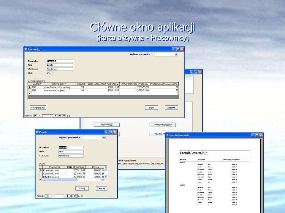 Główne okno aplikacji (karta aktywna - Pracownicy)