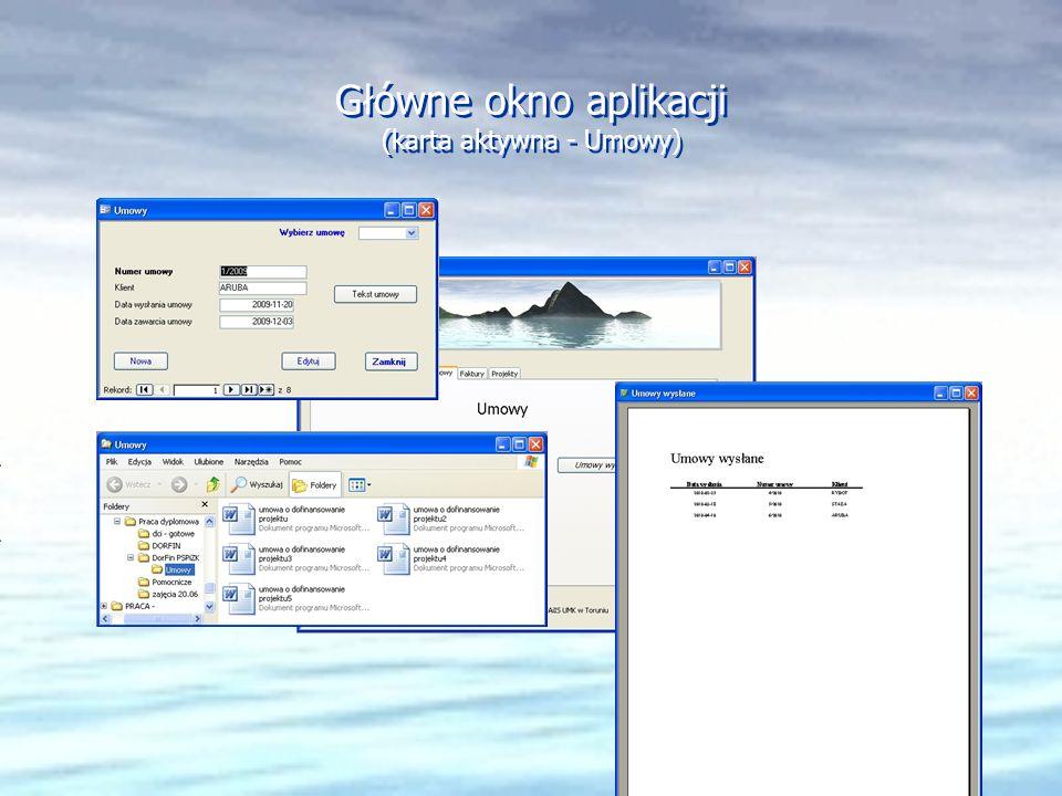 Główne okno aplikacji (karta aktywna - Umowy)