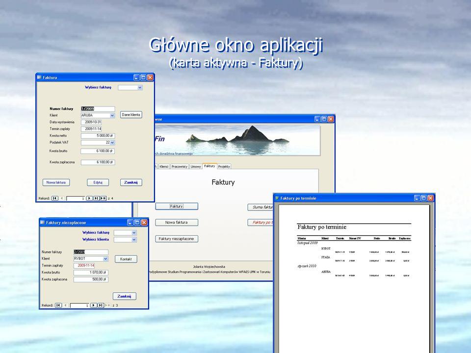 Główne okno aplikacji (karta aktywna - Faktury)