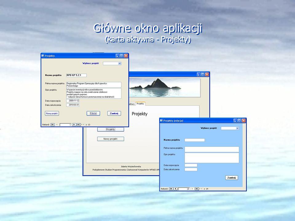 Główne okno aplikacji (karta aktywna - Projekty)