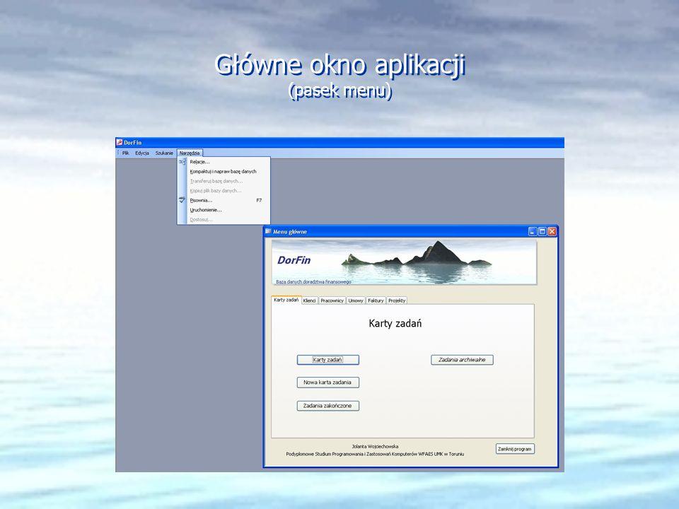 Główne okno aplikacji (pasek menu)
