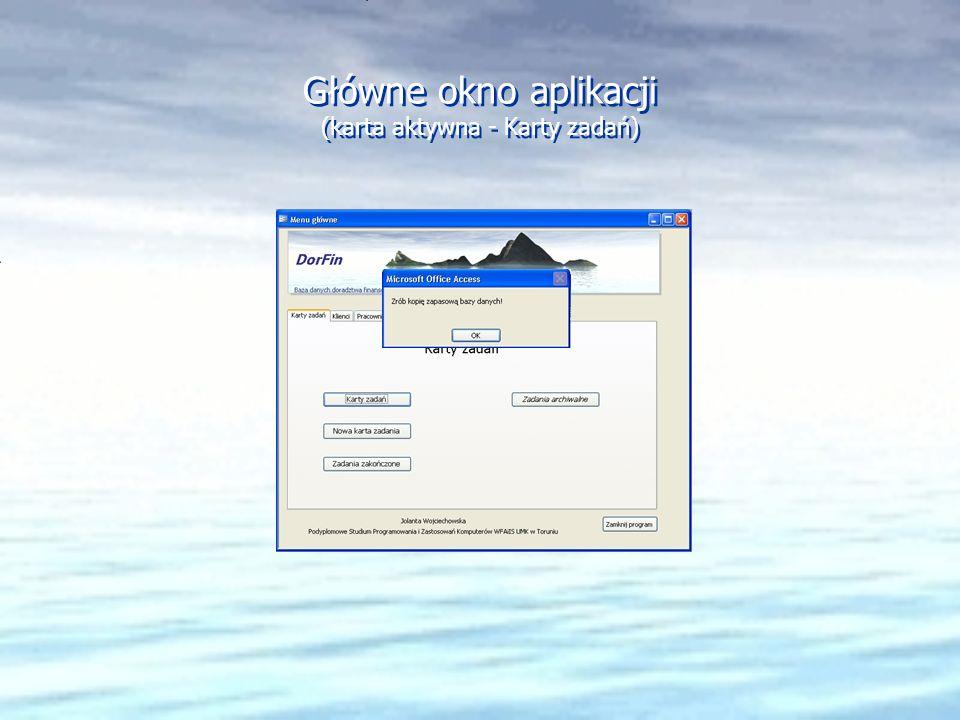 Główne okno aplikacji (karta aktywna - Karty zadań)