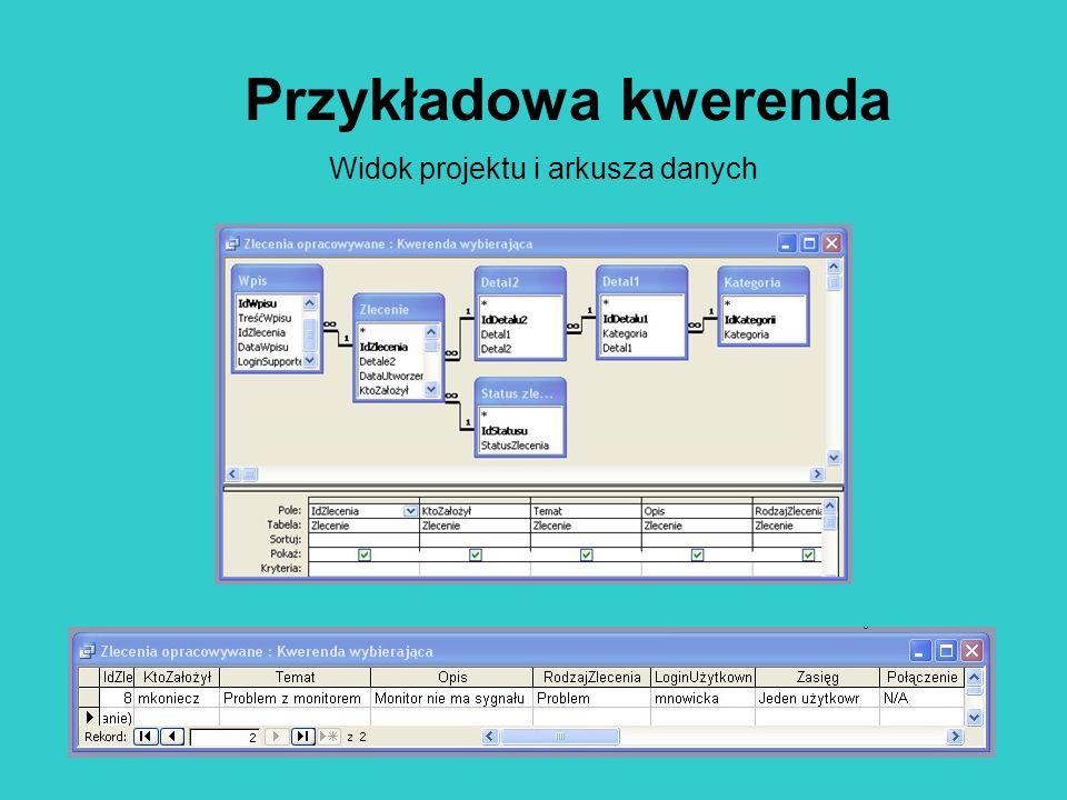 Przykładowa kwerenda Widok projektu i arkusza danych