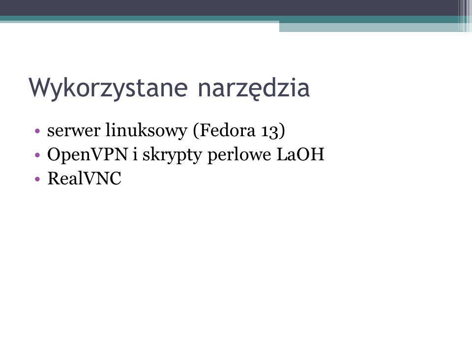 Wykorzystane narzędzia serwer linuksowy (Fedora 13) OpenVPN i skrypty perlowe LaOH RealVNC