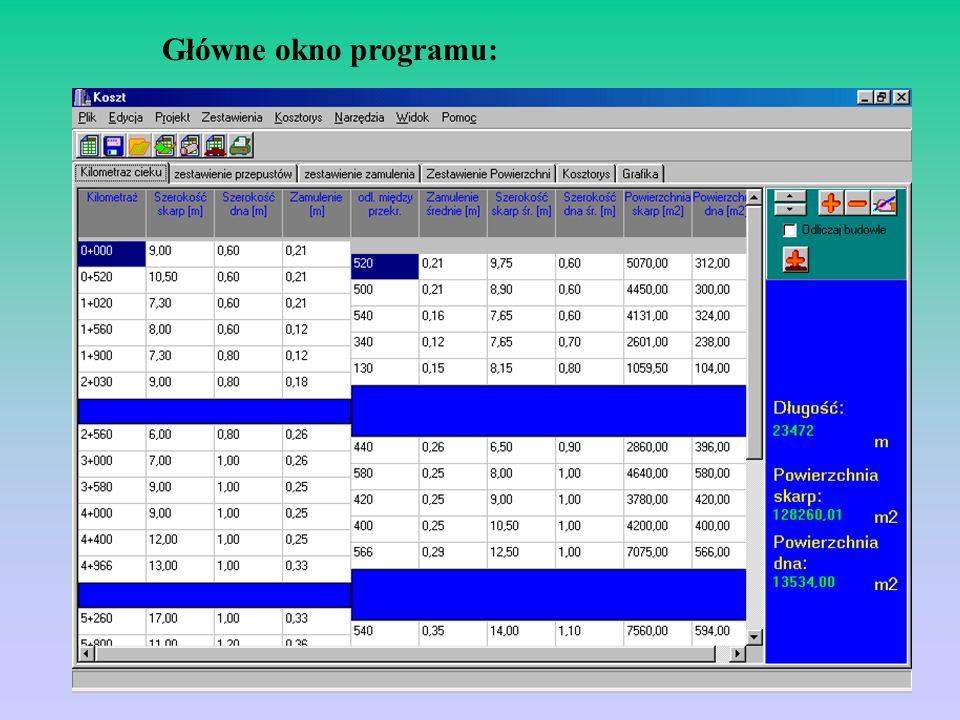 Obróbka i prezentacja danych: 1.Obliczanie powierzchni skarp i dna 2.Zestawianie przedziałów zamulenia 3.Odliczanie długości przepustów 4.Możliwość pr