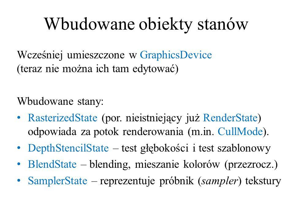 Wbudowane obiekty stanów Wcześniej umieszczone w GraphicsDevice (teraz nie można ich tam edytować) Wbudowane stany: RasterizedState (por. nieistniejąc