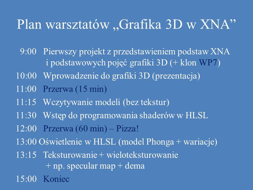 Plan warsztatów Grafika 3D w XNA 9:00 Pierwszy projekt z przedstawieniem podstaw XNA i podstawowych pojęć grafiki 3D (+ klon WP7) 10:00 Wprowadzenie d