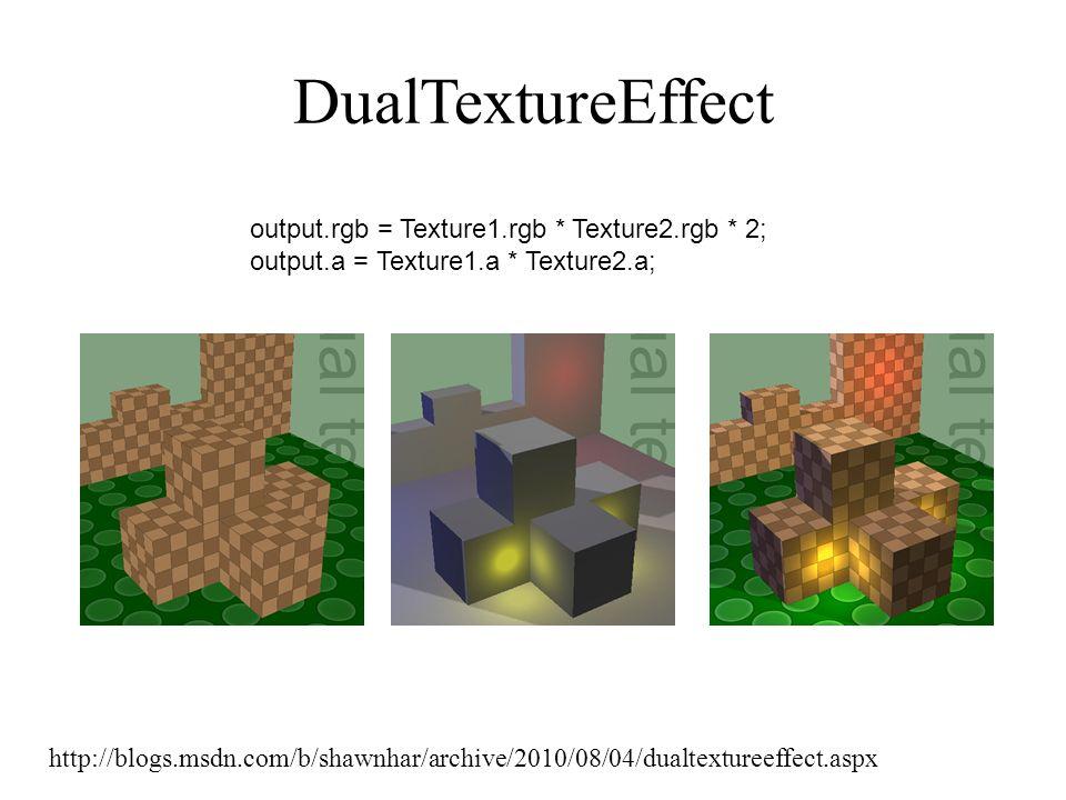 DualTextureEffect http://blogs.msdn.com/b/shawnhar/archive/2010/08/04/dualtextureeffect.aspx output.rgb = Texture1.rgb * Texture2.rgb * 2; output.a =