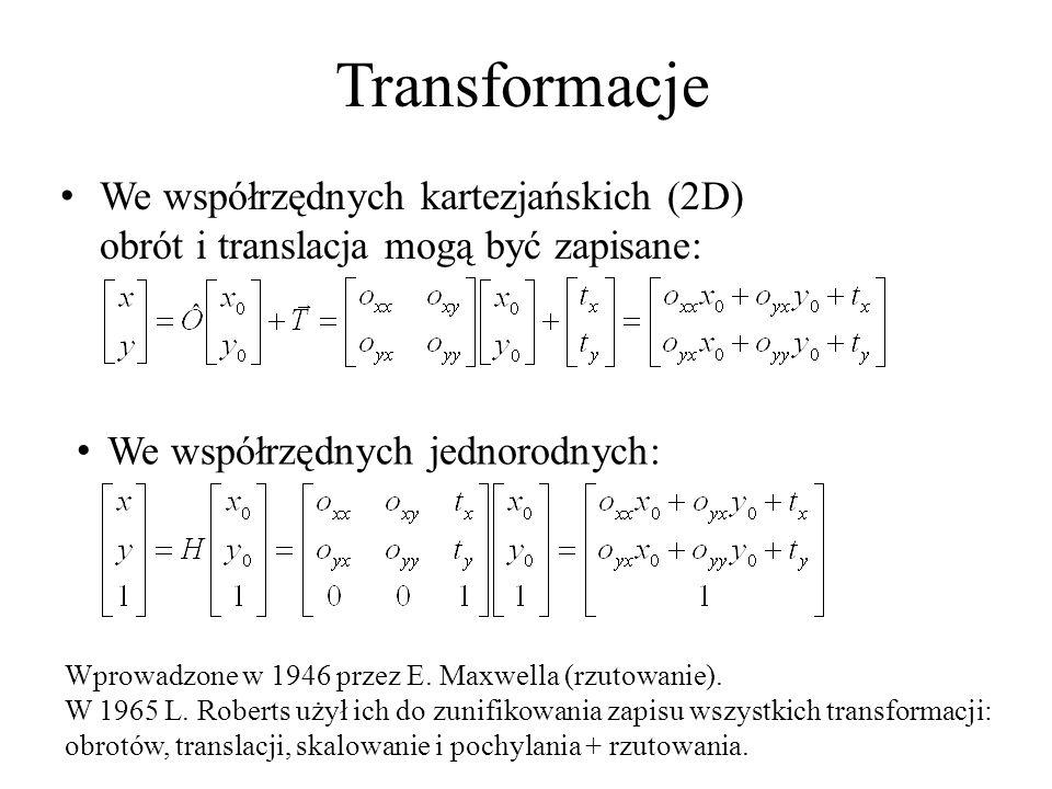 Transformacje We współrzędnych kartezjańskich (2D) obrót i translacja mogą być zapisane: Wprowadzone w 1946 przez E. Maxwella (rzutowanie). W 1965 L.