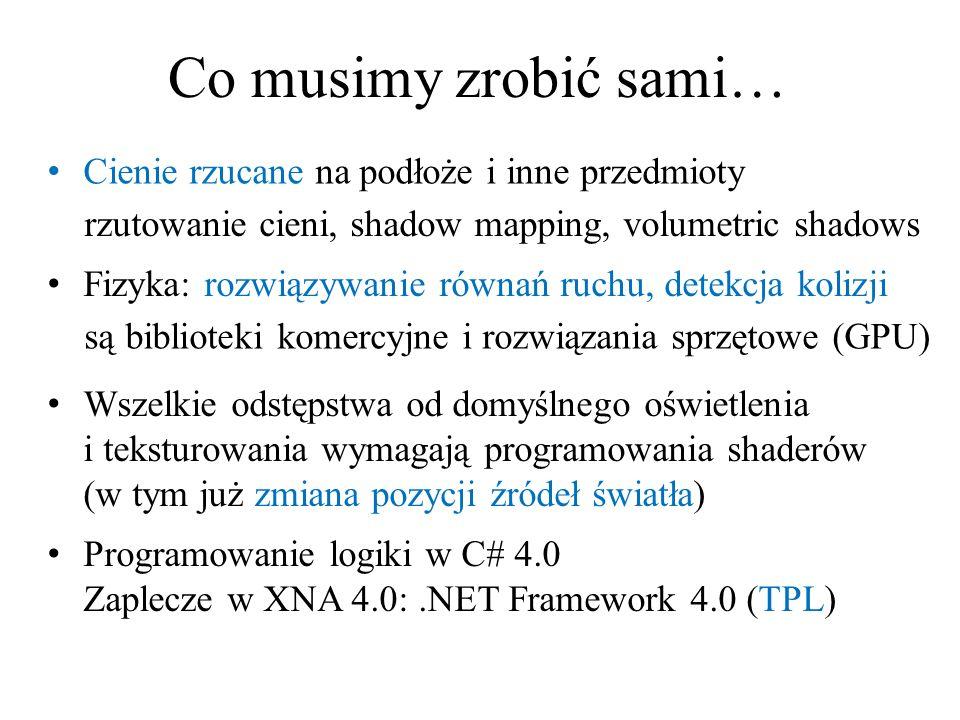 Co musimy zrobić sami… Cienie rzucane na podłoże i inne przedmioty rzutowanie cieni, shadow mapping, volumetric shadows Fizyka: rozwiązywanie równań r
