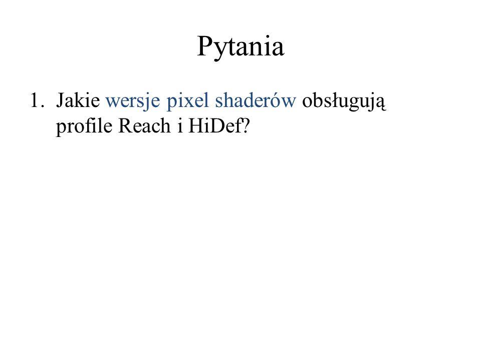 1.Jakie wersje pixel shaderów obsługują profile Reach i HiDef?
