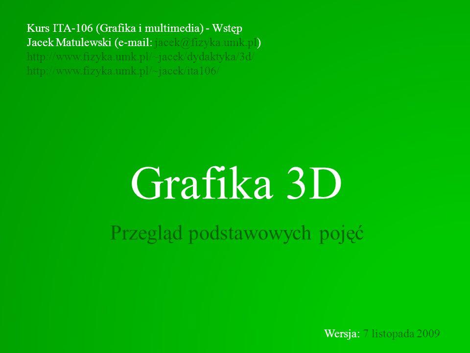 Grafika 3D Przegląd podstawowych pojęć Kurs ITA-106 (Grafika i multimedia) - Wstęp Jacek Matulewski (e-mail: jacek@fizyka.umk.pl) http://www.fizyka.um