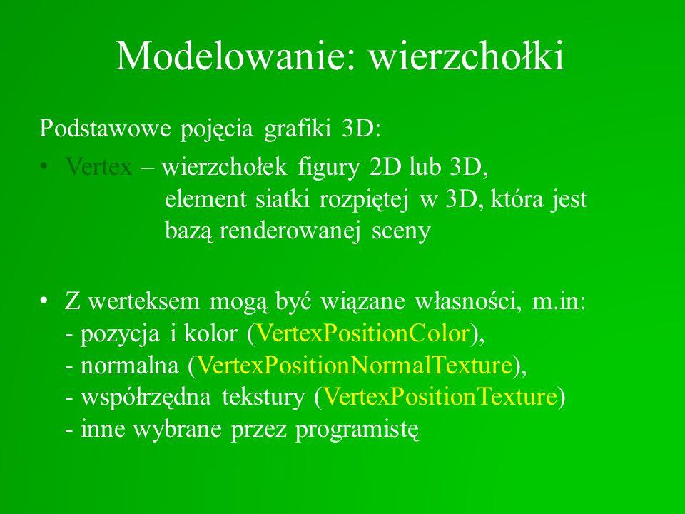 Modelowanie: wierzchołki Podstawowe pojęcia grafiki 3D: Vertex – wierzchołek figury 2D lub 3D, element siatki rozpiętej w 3D, która jest bazą renderow