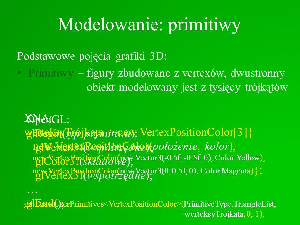 Podstawowe pojęcia grafiki 3D: Primitiwy – figury zbudowane z vertexów, dwustronny obiekt modelowany jest z tysięcy trójkątów Modelowanie: primitiwy O