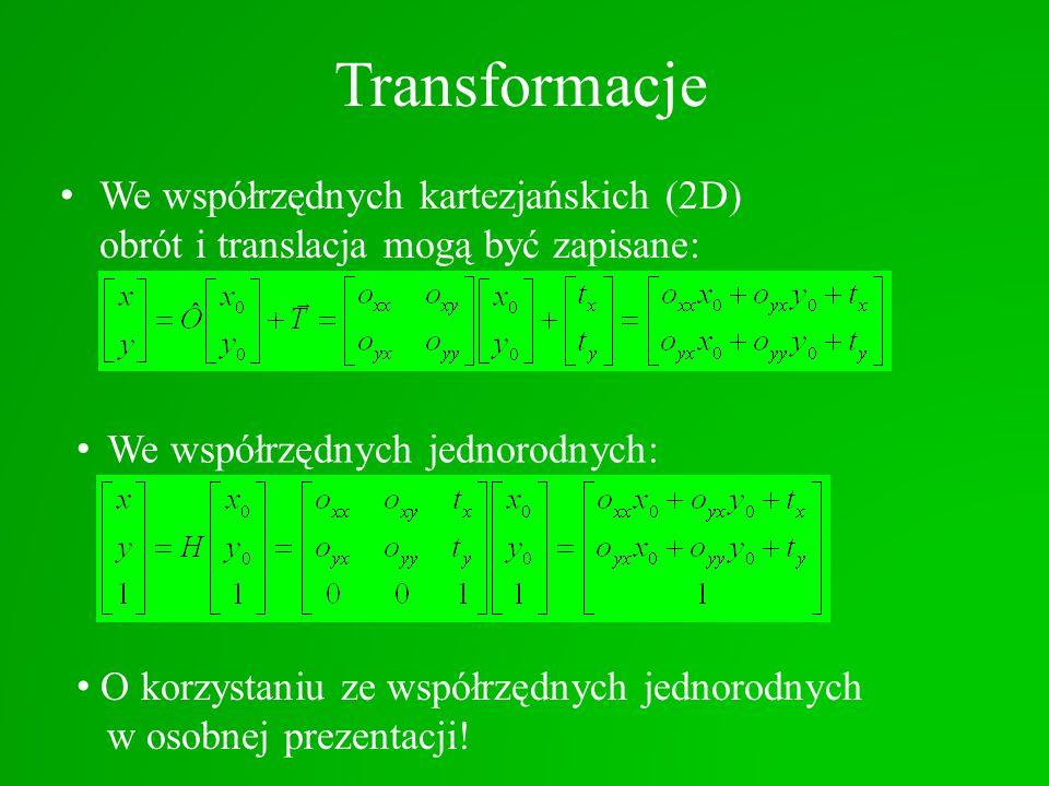 Transformacje We współrzędnych kartezjańskich (2D) obrót i translacja mogą być zapisane: O korzystaniu ze współrzędnych jednorodnych w osobnej prezent
