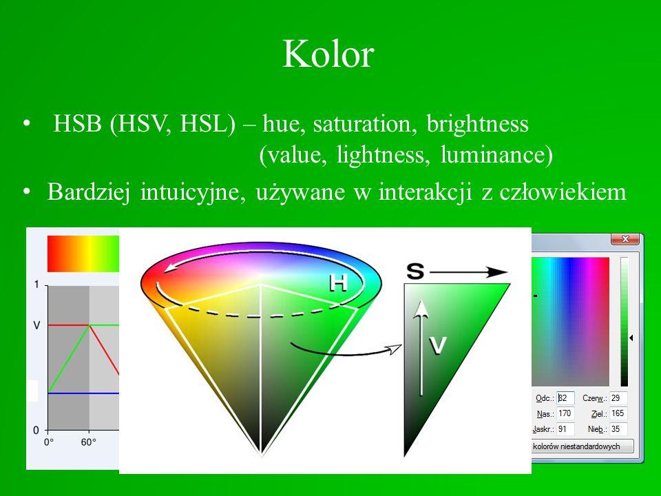Kolor HSB (HSV, HSL) – hue, saturation, brightness (value, lightness, luminance) Bardziej intuicyjne, używane w interakcji z człowiekiem