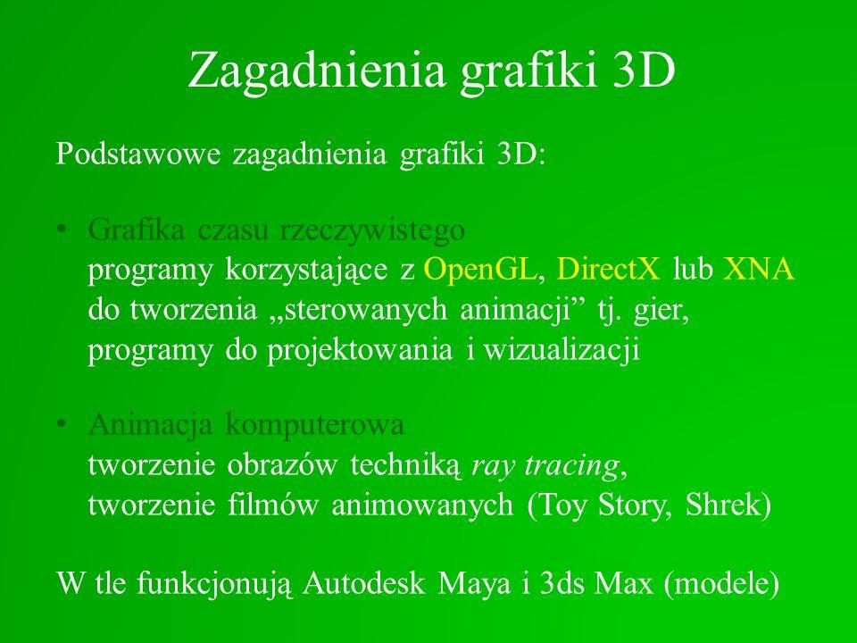 Zagadnienia grafiki 3D Podstawowe zagadnienia grafiki 3D: Grafika czasu rzeczywistego programy korzystające z OpenGL, DirectX lub XNA do tworzenia ste