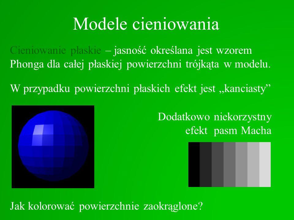 Modele cieniowania Cieniowanie płaskie – jasność określana jest wzorem Phonga dla całej płaskiej powierzchni trójkąta w modelu. W przypadku powierzchn
