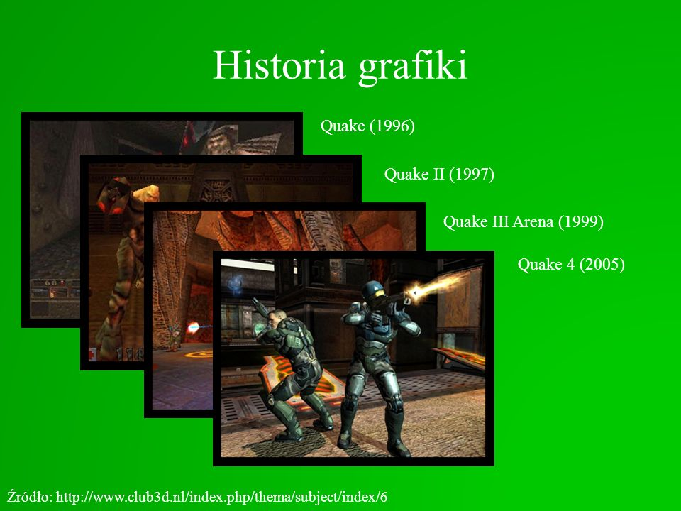 Historia grafiki Quake (1996) Źródło: http://www.club3d.nl/index.php/thema/subject/index/6 Quake II (1997)Quake III Arena (1999) Quake 4 (2005)