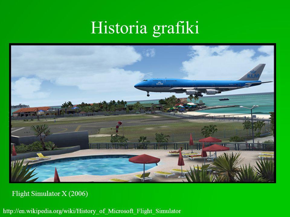Historia grafiki http://en.wikipedia.org/wiki/History_of_Microsoft_Flight_Simulator Flight Simulator 1.0 (1982) Flight Simulator 2.0 (1984)Flight Simu