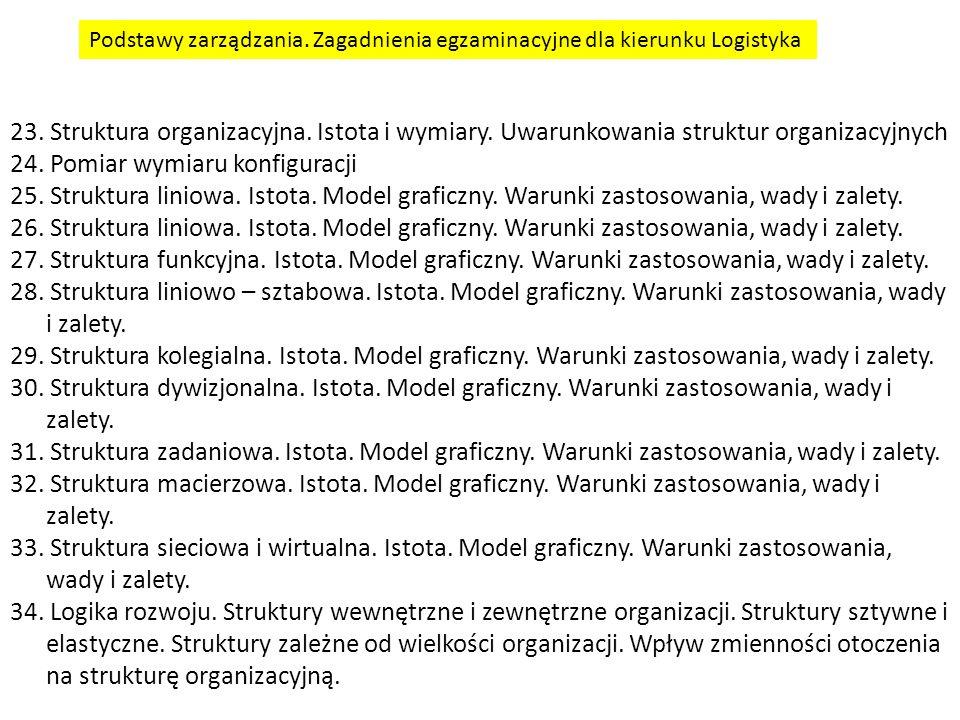 23.Struktura organizacyjna. Istota i wymiary. Uwarunkowania struktur organizacyjnych 24.