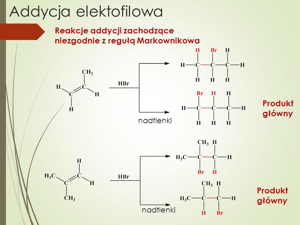 Addycja elektofilowa Reakcje addycji zachodzące niezgodnie z regułą Markownikowa nadtlenki Produkt główny