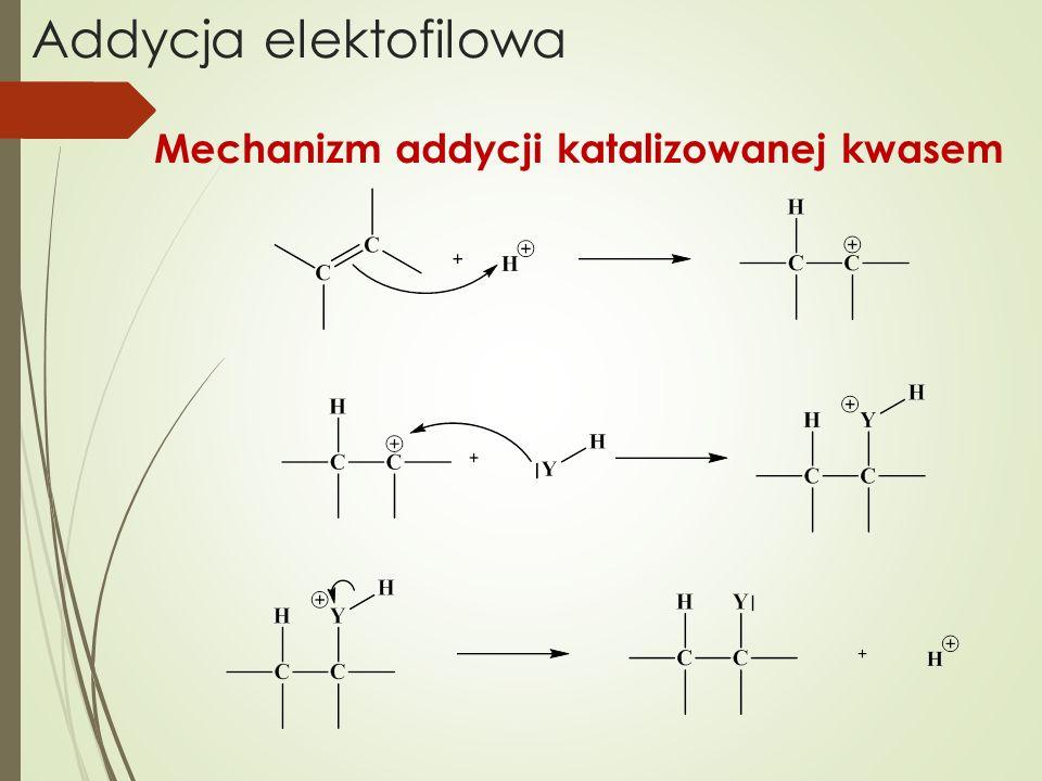 Addycja elektofilowa Mechanizm addycji katalizowanej kwasem