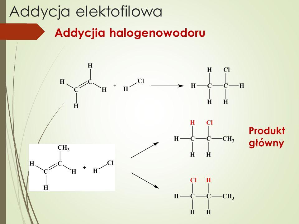 Addycja elektofilowa Produkt główny Addycjia halogenowodoru