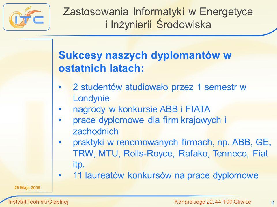 29 Maja 2009 Instytut Techniki Cieplnej Konarskiego 22, 44-100 Gliwice 9 Zastosowania Informatyki w Energetyce i Inżynierii Środowiska Sukcesy naszych
