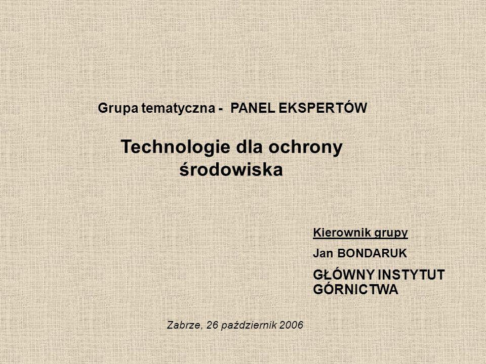 Grupa tematyczna - PANEL EKSPERTÓW Technologie dla ochrony środowiska Zabrze, 26 październik 2006 Kierownik grupy Jan BONDARUK GŁÓWNY INSTYTUT GÓRNICT