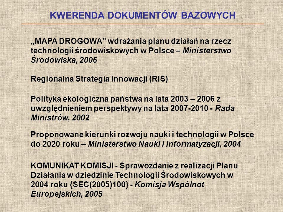 KWERENDA DOKUMENTÓW BAZOWYCH MAPA DROGOWA wdrażania planu działań na rzecz technologii środowiskowych w Polsce – Ministerstwo Środowiska, 2006 Regiona