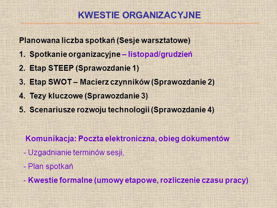 KWESTIE ORGANIZACYJNE Planowana liczba spotkań (Sesje warsztatowe) 1.Spotkanie organizacyjne – listopad/grudzień 2.Etap STEEP (Sprawozdanie 1) 3.Etap