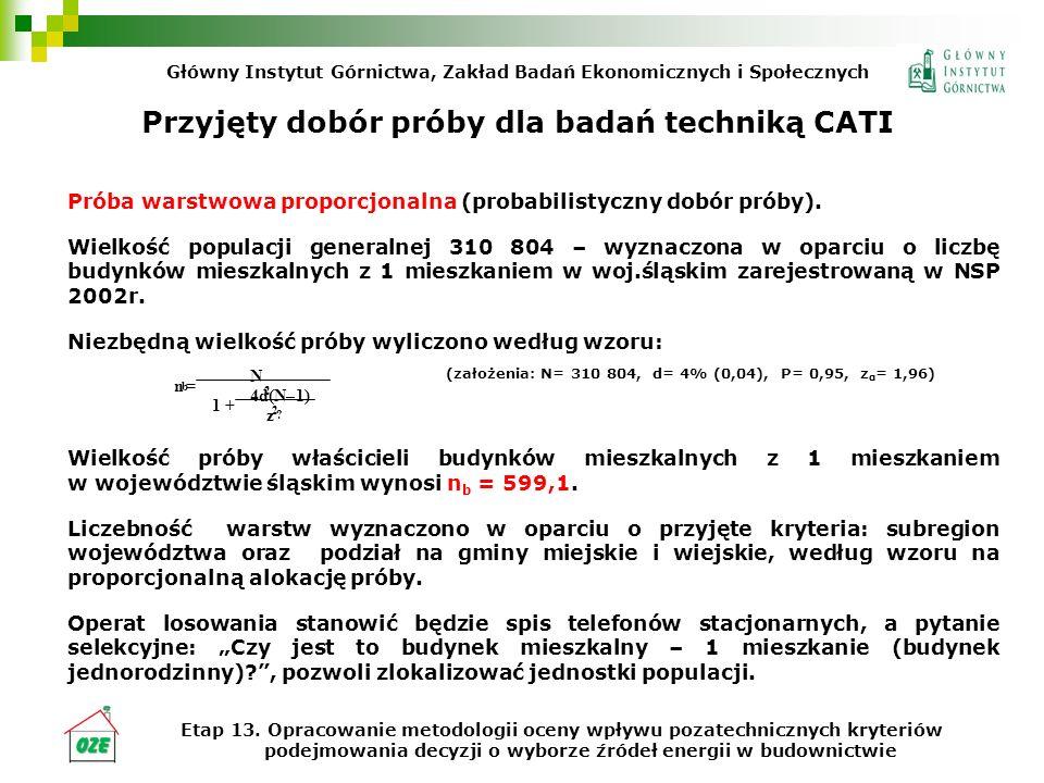 Przyjęty dobór próby dla badań techniką CATI Próba warstwowa proporcjonalna (probabilistyczny dobór próby). Wielkość populacji generalnej 310 804 – wy