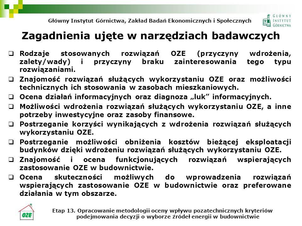 Zagadnienia ujęte w narzędziach badawczych Rodzaje stosowanych rozwiązań OZE (przyczyny wdrożenia, zalety/wady) i przyczyny braku zainteresowania tego typu rozwiązaniami.