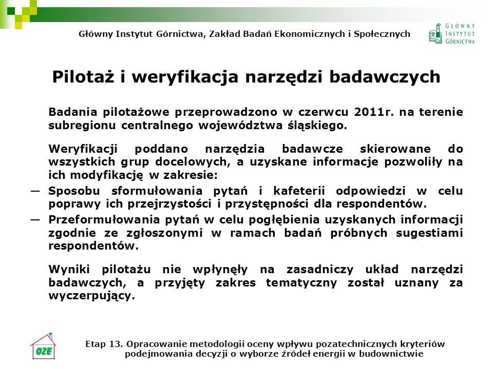 Pilotaż i weryfikacja narzędzi badawczych Badania pilotażowe przeprowadzono w czerwcu 2011r. na terenie subregionu centralnego województwa śląskiego.