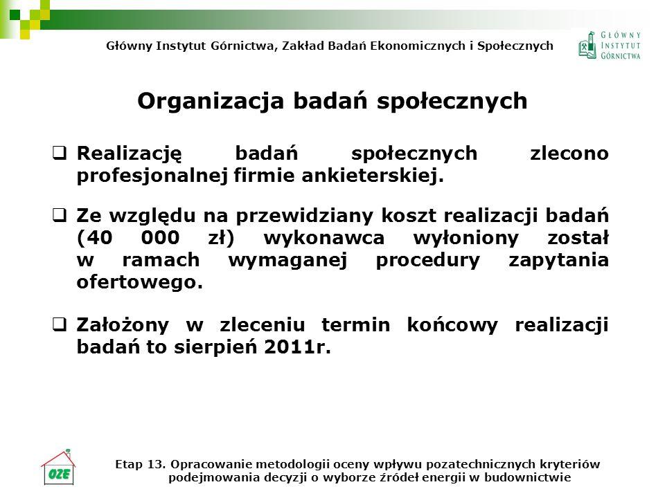 Organizacja badań społecznych Realizację badań społecznych zlecono profesjonalnej firmie ankieterskiej.