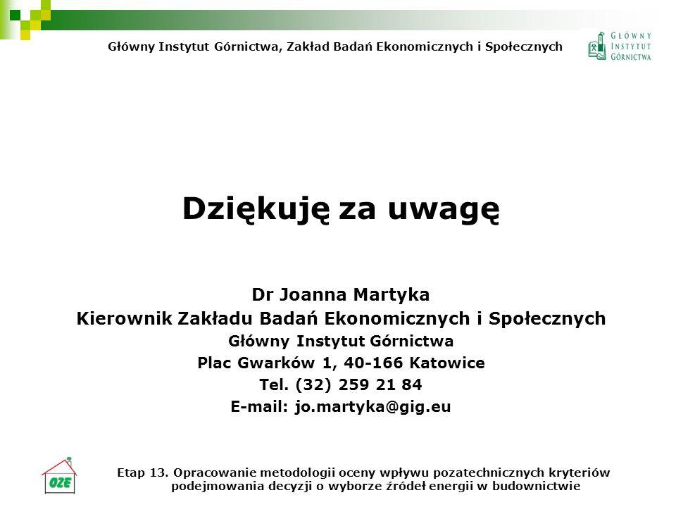 Dziękuję za uwagę Dr Joanna Martyka Kierownik Zakładu Badań Ekonomicznych i Społecznych Główny Instytut Górnictwa Plac Gwarków 1, 40-166 Katowice Tel.