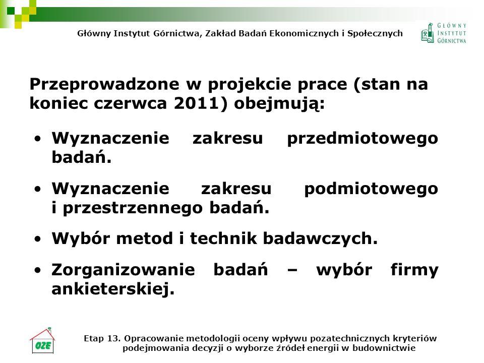 Przeprowadzone w projekcie prace (stan na koniec czerwca 2011) obejmują: Wyznaczenie zakresu przedmiotowego badań. Wyznaczenie zakresu podmiotowego i