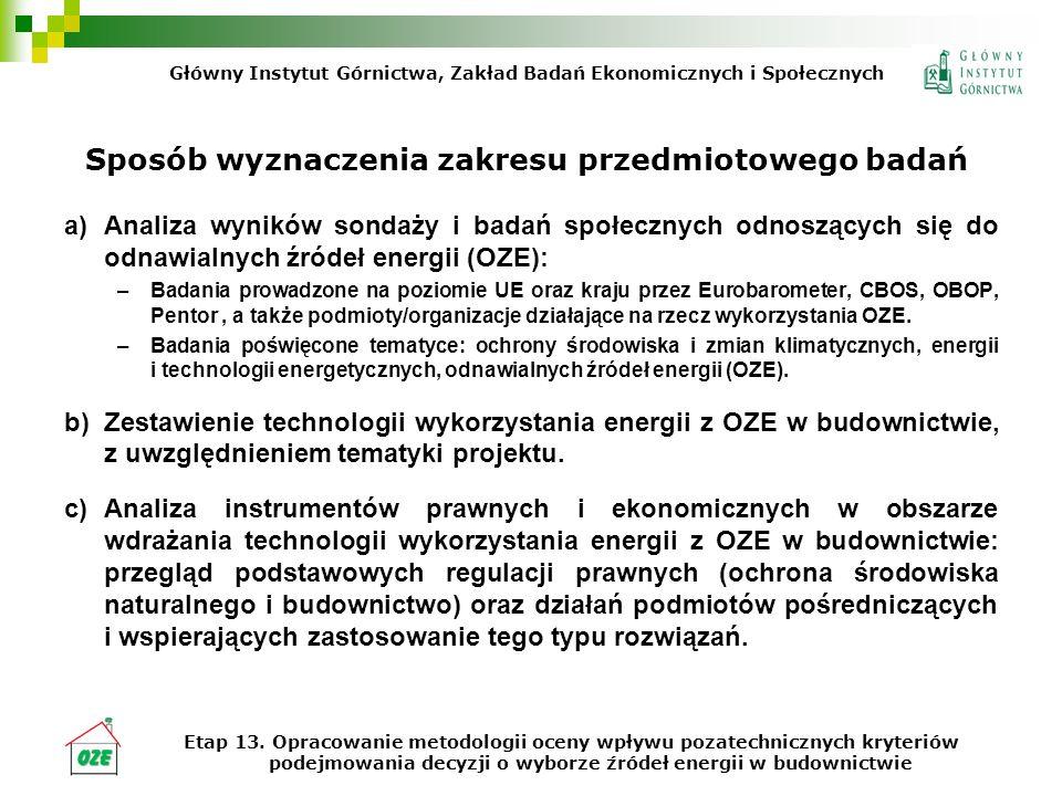 Sposób wyznaczenia zakresu przedmiotowego badań a)Analiza wyników sondaży i badań społecznych odnoszących się do odnawialnych źródeł energii (OZE): –Badania prowadzone na poziomie UE oraz kraju przez Eurobarometer, CBOS, OBOP, Pentor, a także podmioty/organizacje działające na rzecz wykorzystania OZE.