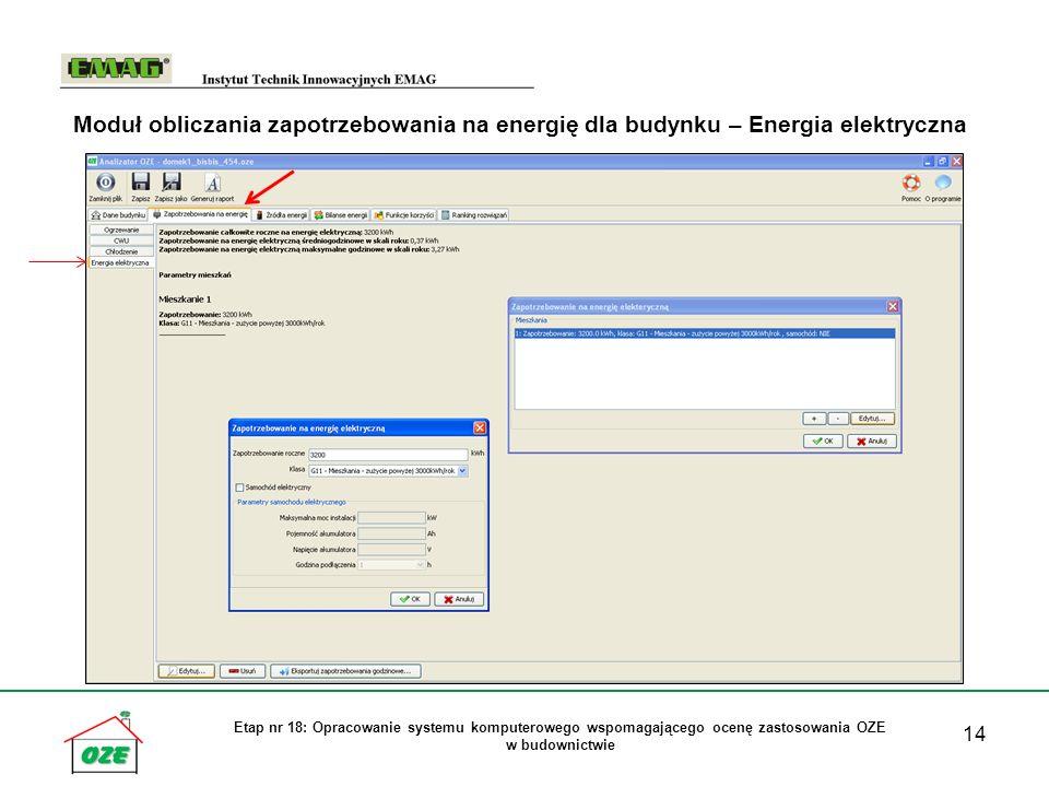 14 Etap nr 18: Opracowanie systemu komputerowego wspomagającego ocenę zastosowania OZE w budownictwie Moduł obliczania zapotrzebowania na energię dla budynku – Energia elektryczna