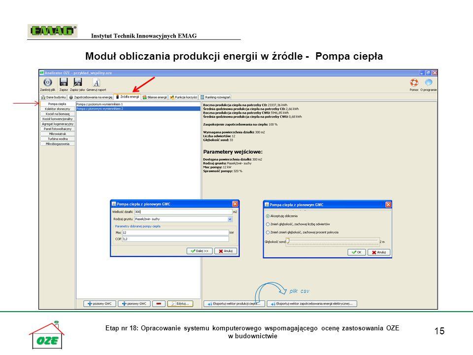 15 Etap nr 18: Opracowanie systemu komputerowego wspomagającego ocenę zastosowania OZE w budownictwie Moduł obliczania produkcji energii w źródle - Po