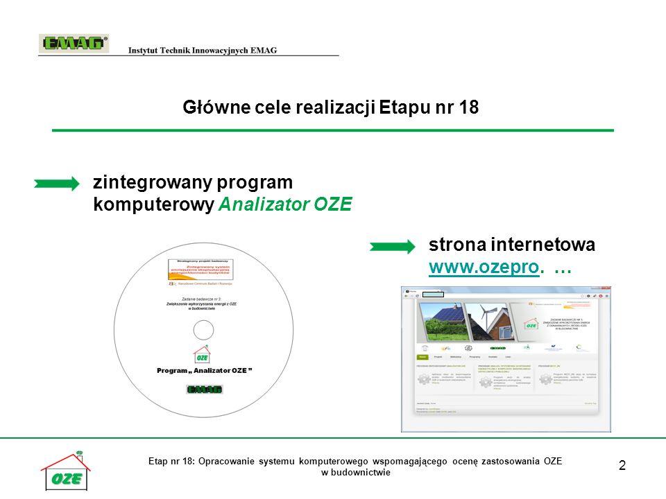 2 Etap nr 18: Opracowanie systemu komputerowego wspomagającego ocenę zastosowania OZE w budownictwie Główne cele realizacji Etapu nr 18 zintegrowany program komputerowy Analizator OZE strona internetowa www.ozepro.