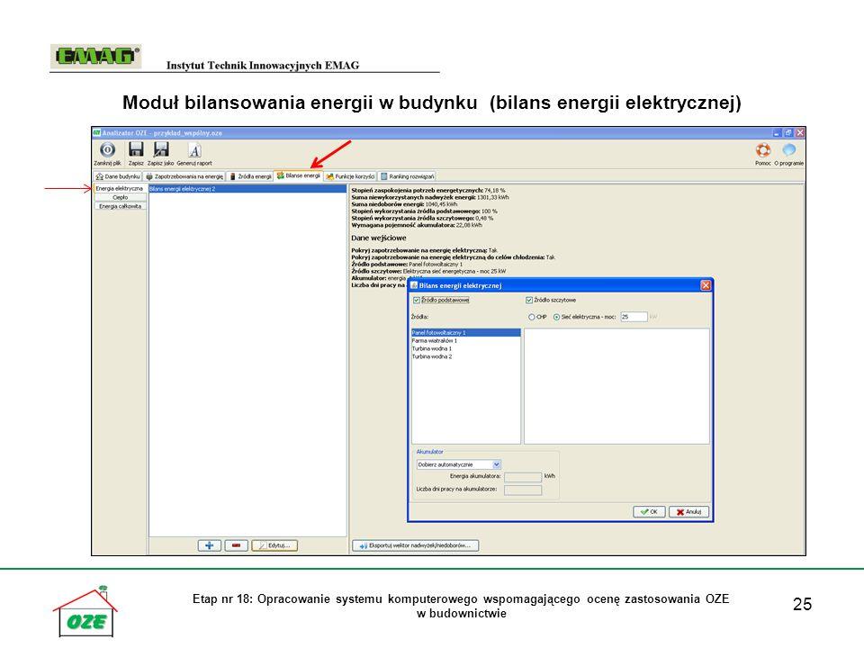 25 Etap nr 18: Opracowanie systemu komputerowego wspomagającego ocenę zastosowania OZE w budownictwie Moduł bilansowania energii w budynku (bilans ene