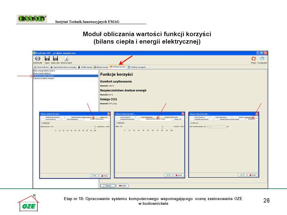 26 Etap nr 18: Opracowanie systemu komputerowego wspomagającego ocenę zastosowania OZE w budownictwie Moduł obliczania wartości funkcji korzyści (bilans ciepła i energii elektrycznej)