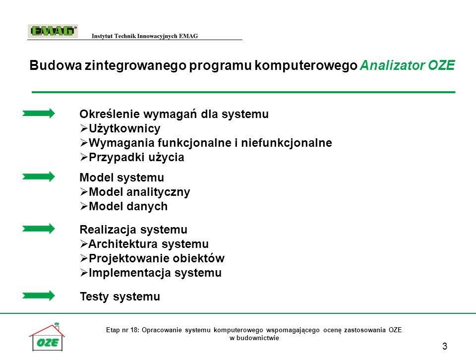 3 Etap nr 18: Opracowanie systemu komputerowego wspomagającego ocenę zastosowania OZE w budownictwie Określenie wymagań dla systemu Użytkownicy Wymagania funkcjonalne i niefunkcjonalne Przypadki użycia Model systemu Model analityczny Model danych Realizacja systemu Architektura systemu Projektowanie obiektów Implementacja systemu Testy systemu Budowa zintegrowanego programu komputerowego Analizator OZE