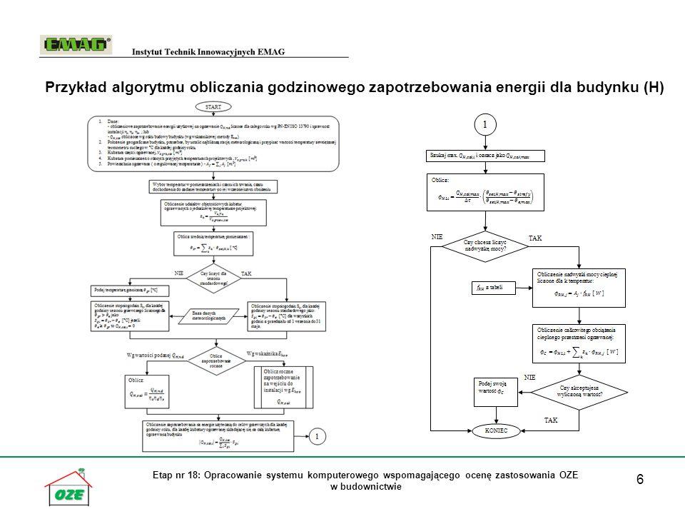 7 Etap nr 18: Opracowanie systemu komputerowego wspomagającego ocenę zastosowania OZE w budownictwie Przykład algorytmu obliczania godzinowej produkcji energii w źródle OZE (pompa ciepła)